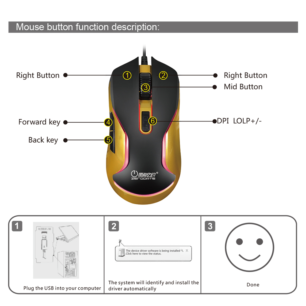 Zerodate K12 Wired Gaming Keyboard Optical Pro Gamer Mouse Backlit Usb Wire Diagram As Well Wiring For Acer Aspire On Package Weight 1325g 292lb List 1 Backlight Game Manual