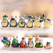 Hot!!12 pcs/Set Cartoon TOTORO DIY Craft Miniature Micro Gnome Terrarium Resin Craft Gift japanese cute lovely anime Toy Figures(China)