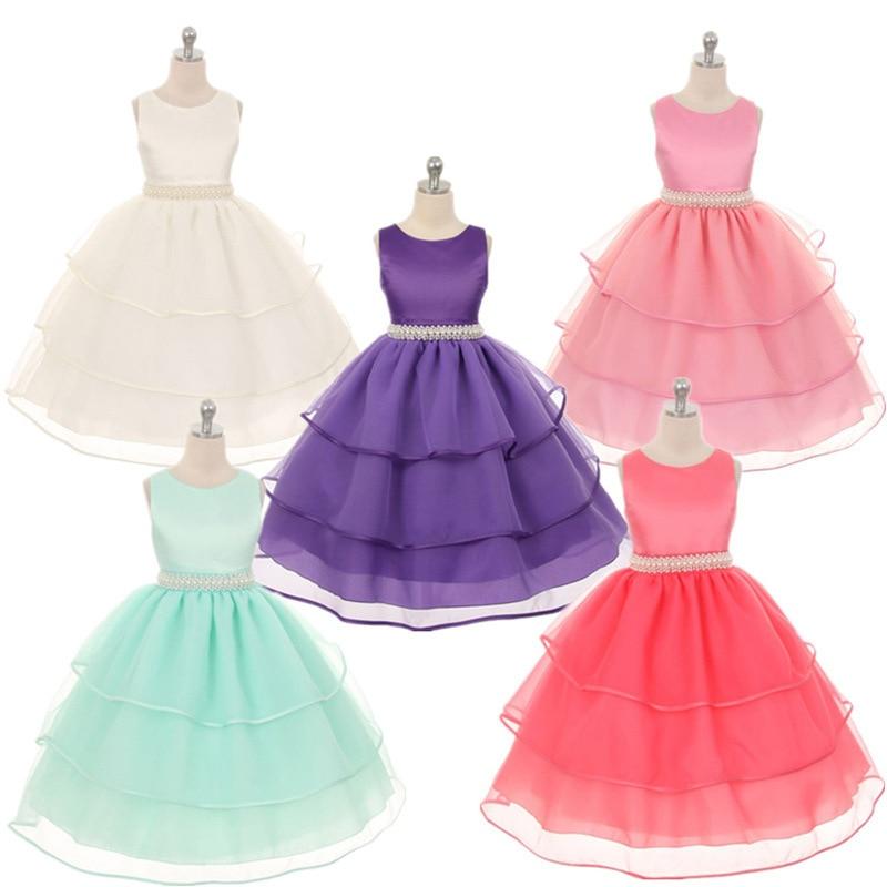 Girls Flower  Princess Child Hand Sewn Beads Wedding Dress Birthday Party Dresses Children Princess <br>