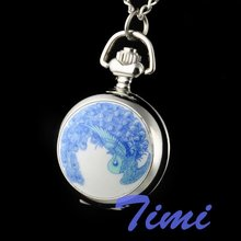 peacock women ladies girls necklace pocket watch chain(China)