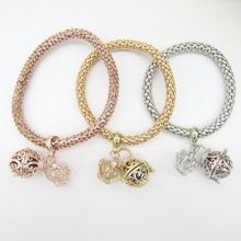 3pcs per set Crown and Locket Cage DIY Women`s Oil Diffuser Charms Bracelet(China)