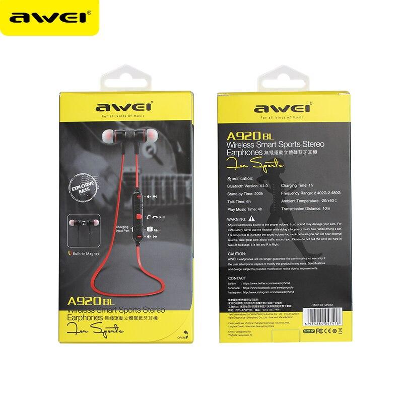 AWEI A920BL Wireless Sports Earphones headphone Bluetooth V4.0 Earhook headset For Mobile Iphones<br><br>Aliexpress