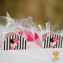 Minnie mouse birthday party decorations kids party supplies cake wrappers chocolate box orminhas para doces 50pcs/lot AW-0502