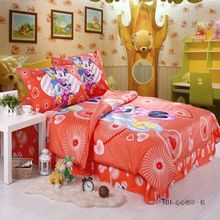 Pretty Minnie Mouse comforter Duvet Doona Cover Set Baby Girls 100% Cotton fabric Twill orange bedding bed in a bag 3/4/5pcs