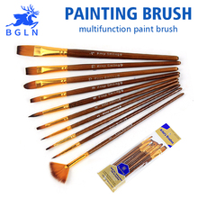 10Pcs/set Nylon Hair Watercolor Paint Brushes Variety Style Multifunctional Oil Acrylic Painting Brush Art Supplies KP-01