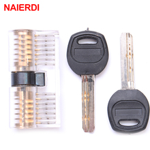NAIERDI Cutaway Inside Practice Transparent Padlock Lock Visable Training Skill Pick For Locksmith Supplies With Smart Keys(China)