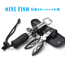 TOMA Stainless Steel Fish Lip Gripper Grip(180mm)+Pliers(125mm) Set Fishing Tackle Control Fish Plier Fishing Tool