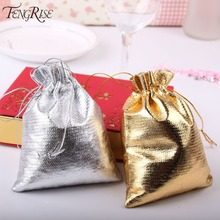 FENGRISE 50pieces 7x9 cm 9x12 cm Metallic Foil Cloth Organza Bags Wedding Decoration Favour Gifts Goodie Candy Packaging Pouches