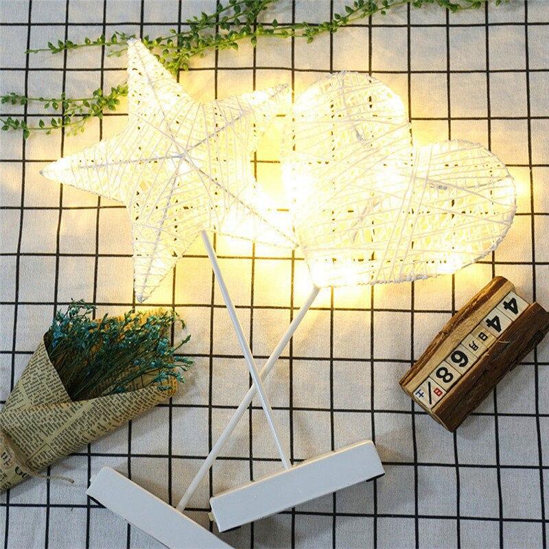 Chiclits 40CM Star Heart Shape LED Night Light Grass Rattan Woven Battery Power Girls Bedroom Decorative Table Lamp Kid Gift Toy (14)