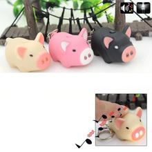 Kawaii LED 3D Cartoon Animal Little Pig Action Figure Toys With Sound Keychain Kids Gifts Wholesale