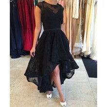 Black Lace Hi_lo Girls Party Dress Cap Sleeve Sexy Vestidos Para Festa Short Front Long Back Prom Dress Cheap Graduation Dress