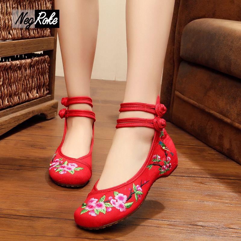 Plum blossom sexy red embroidery chinese shoes women fashion leisure canvas flats oxford shoes for women ladies shoes loafers<br><br>Aliexpress