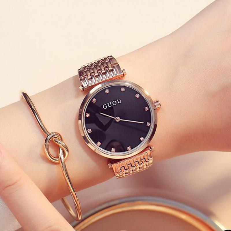 Luxury GUOU Bling Rose Gold Crystal Bracelet Quartz Wristwatches Wrist Watch for Women Ladies NO FADE 3 Year Warranty<br>