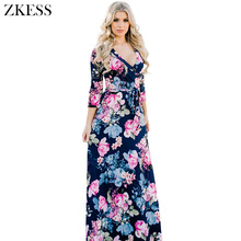 Zkess Women Blooming Flower Print Wrap V Neck Maxi Dress Boho Fashion Casual Soft Jersey Knit Long Dresses LC61712