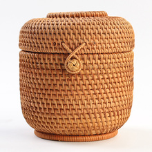 Rattan storage basket storage basket storage box debris storage basket gift box packaging Pu'er tea cans