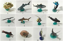 mini  pvc figure   Marine life seagull coral fish mackerel shark Stingray model  12pcs/set