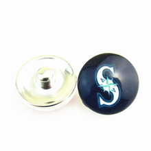 20pcs/lot Fashion MLB Seattle Mariners Baseball Hat Logo Snap Button Sports Snap Jewelry for 18mm Ginger Snap Bracelet(China)