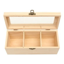 3 Compartments Vintage Multifunctional Wooden Storage Box Jewelry Accessories Storage Container  Tea Organizer Bag Box