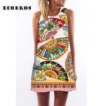 Buy ECOBROS 2017 Fashion Woman Summer Dress casual sleeveless Loose Folding fan print mini dresses plus size woman clothing dress for $7.99 in AliExpress store