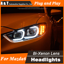 A&T Car Styling for Mazda6 Atenza LED Headlight Mazda 6 Headlights DRL Lens Double Beam H7 HID Xenon bi xenon lens