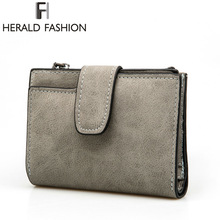 Herald Fashion Lady Letter Wallet Zipper Short Clutch Solid Vintage Matte Women Wallet Fashion Small Female Purse Short Purse
