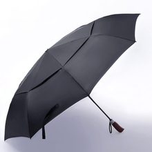2017 New style Double layer Large Honorable Automatic Umbrella Men Creative Solid Wood Handle Business Fashion Umbrella Women(China)