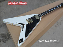 Free Shipping-Electric Guitar with White Body,Gold Hardware,string-thru-body Design,Black Pickguard and can be Customized