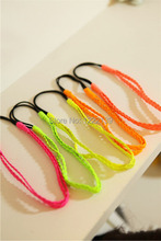 Fluorescence color PU leather plaited hair band braided double headband hippie elastic hair accessory mix color(China)