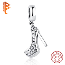 Fit Original Pandora Charm Bracelet 925 Sterling Silver Jewelry High Heeled Shoes Crystal Clear CZ Crystal European Charms Beads
