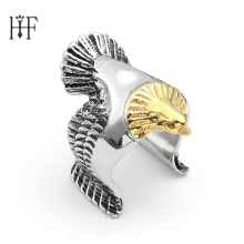 Unique Golden Eagle domineering personality ring Biker Eagle Ring Man's High Quality Rings Rock Hip Hop Locomotive Male Gift(China)