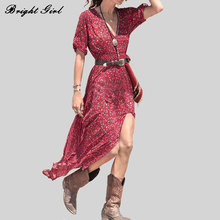 Buy BRIGHT GIRL Summer Causal Ladies Sexy Dress Elegant Women Bohemian Style Dresses Loose Female Clothes Half Sleeve Maxi Vestido for $13.73 in AliExpress store