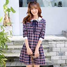 Spring Autumn Girls School Dress Peter Pan Collar Bow Ribbon Japanese Beauty Eye Print Cute Plaid Kawaii Lolita Dresses T272