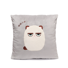 MICROPLUSH 42*42cm Grouchy Kitten Cat Pillowcase Toys Soft Stuffed Animal Angrey Cat Pillow Case Christmas Decoration Ornament(China)