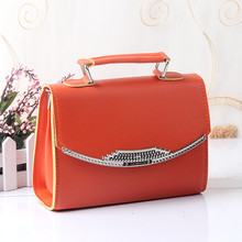 PU Clamshell Women Handbag Shoulder Bag Crossboday Messenger Orange Magnetic Snap Buckle