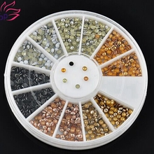 Semicircle Plated 6 Color Round Nail Studs Tips Glitter Wheel 3D Nail Art Supplies DIY Decorations For Nails  ZP050