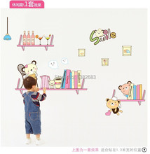 High quality! reading book winnie bookshelf kettle bear DIY Kids ROOM Removable Art Vinyl Wall Stickers Decor Mural Decal AM7033