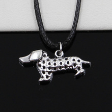 New Fashion Tibetan Silver Pendant dog dachshund Necklace Choker Black Leather Cord Factory Price Handmade jewelry(China)