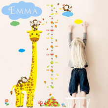 Customized Kids Name Wall Stickers Giraffe Height Chart Wall Decors Creative Cartoon Decorative Wall Decals
