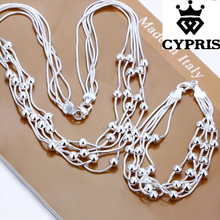 2018 CYPRIS S063 Wholesale Silver set Beads necklace bracelet bridal wedding jewellery set joyas de plata best jewelry(China)