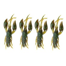 4pcs/Lot Silicone Shrimp Soft Fishing Lure Craw Artificial Crawfish Lure Swim Bait For ice Carp Fishing Tackle Bass Sinking