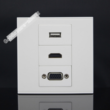 Wall Socket Plate 3 Ports ONE USB Socket & One VGA & One HDMI Panel Faceplate Outlet Adapter 86*86mm Home Adapter Wholesale Lots