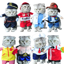 Funny Cat Costume Suit Small Dog Clothes Puppy Uniform Outfit Cute Clothing Nurse Policeman Pirate Cowboy Halloween Cats Coat(China)