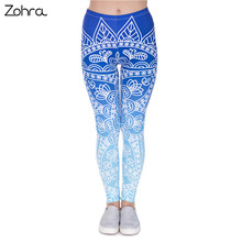 Zohra High Quality Women Legins Mandala Ombre Blue Printing Legging Fashion Casual High Waist Woman Leggings(China)