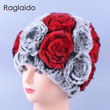 Big Rose Floral Winter Girl Hat Real Fur Knitting Cap Current Femininity Rex Fur Hat Rabbit Beanies Braid Hats for Women LQ11167