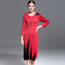 Europe's New Fall Color Long Sleeved Waist Dress Fold Slim Winter Dress