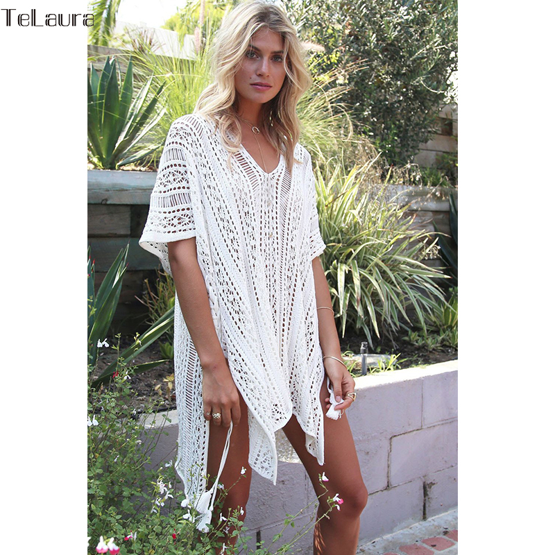 2018 New Beach Cover Up Bikini Crochet Knitted Tassel Tie Beachwear Summer Swimsuit Cover Up Sexy See-through Beach Dress 12