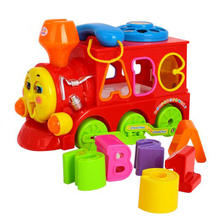 Kids Toy Smart Electric Train Shape Sorter Letters Simulation Telephone Toy w/ Light Music Thomas And Friends Train Door Games(China)