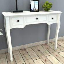 vidaXL White Dressing Console Table with Three Drawers(China)