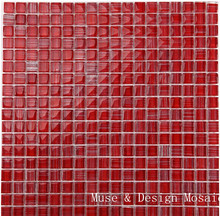 Bamboo Red Crystal Glass Mosaic Tile for Kitchen backsplash bathroom Shower Wall Sticker(China)