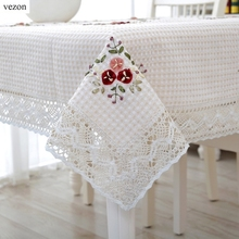 vezon New Hot Sale Elegant Handmade Crochet Tablecloth Cover Ribbon Embroidery Crocheted Table Cloth Linen Overlay(China)